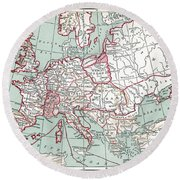 Map Of Europe, 12th Century Round Beach Towel