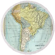 South America: Map, C1890 Round Beach Towel