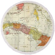 Map: Cuba, 1900 Round Beach Towel