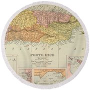 Map: Puerto Rico, 1900 Round Beach Towel