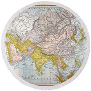 Asia Map Late 19th Century Round Beach Towel