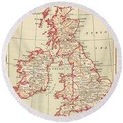 Map: British Isles, C1890 Round Beach Towel
