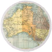 Map: Australia, C1890 Round Beach Towel