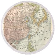 Map: East Asia, 1907 Round Beach Towel