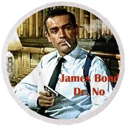007, James Bond, Sean Connery, Dr No Round Beach Towel