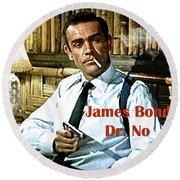 007, James Bond, Sean Connery, Dr No Round Beach Towel