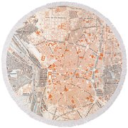 Spain: Madrid Map, C1920 Round Beach Towel