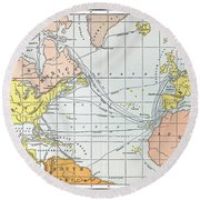 Map: Atlantic Voyages Round Beach Towel