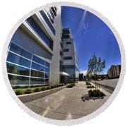 01 Conventus Medical Building On Main Street Round Beach Towel