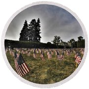 01 Flags For Fallen Soldiers Of Sep 11 Round Beach Towel