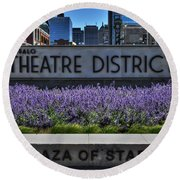 01 Plaza Of Stars Buffalo Theatre District Round Beach Towel