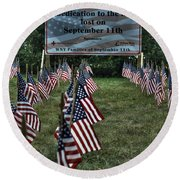 010 Flags For Fallen Soldiers Of Sep 11 Round Beach Towel
