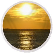010 Sunset 16mar16 Round Beach Towel