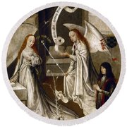 Spain: Annunciation, C1500 Round Beach Towel