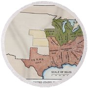 United States Map, 1854 Round Beach Towel