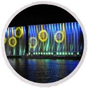 011 Grain Elevators Light Show 2015 Round Beach Towel
