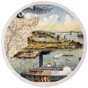 Mississippi Steamboat Round Beach Towel