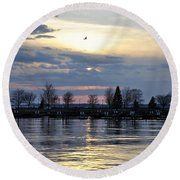 013 April Sunsets Round Beach Towel