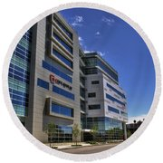 02 Conventus Medical Building On Main Street Round Beach Towel