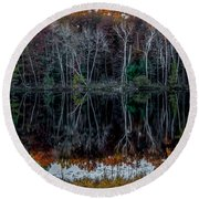 02l Reflections At  Gowen Michigan Round Beach Towel