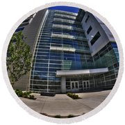 03 Conventus Medical Building On Main Street Round Beach Towel