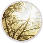 03 Foggy Sunday Sunrise Round Beach Towel