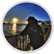03 Me Sunset 16mar16 Round Beach Towel