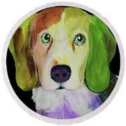 0356 Dog By Nixo Round Beach Towel