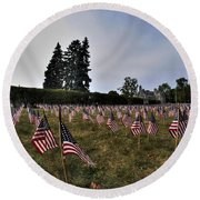 04 Flags For Fallen Soldiers Of Sep 11 Round Beach Towel