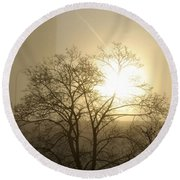 04 Foggy Sunday Sunrise Round Beach Towel