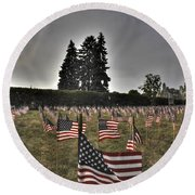 05 Flags For Fallen Soldiers Of Sep 11 Round Beach Towel