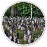 06 Flags For Fallen Soldiers Of Sep 11 Round Beach Towel