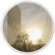 06 Foggy Sunday Sunrise Round Beach Towel