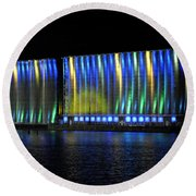 06 Grain Elevators Light Show 2015 Round Beach Towel