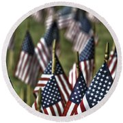 07 Flags For Fallen Soldiers Of Sep 11 Round Beach Towel
