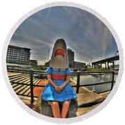 07 Shark Girl Round Beach Towel