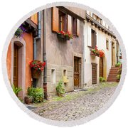 Half-timbered House Of Eguisheim, Alsace, France Round Beach Towel