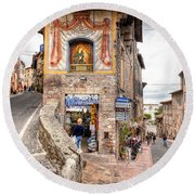 0755 Assisi Italy Round Beach Towel