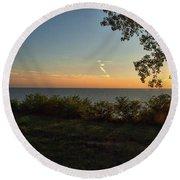 0874- Lake Michigan Sunset Round Beach Towel