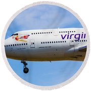 A Virgin Atlantic Boeing 747 Round Beach Towel