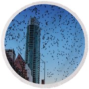 1.5 Million Mexican Free-tail Bats Overtake The Austin Skyline As They Exit The Congress Avenue Bridge Round Beach Towel