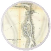 1865 Uscs Map Of The Mississippi River 78 To 98 Miles Above Cairo Illinois Round Beach Towel
