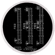 1875 Electric Railway Signal Patent Drawing  Round Beach Towel