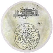 1908 Pocket Watch Patent  Round Beach Towel
