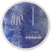 1911 Mechanical Skeleton Patent Blue Round Beach Towel