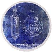 1913 Pocket Watch Patent Blue Round Beach Towel