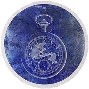 1916 Pocket Watch Patent Blueprint Round Beach Towel