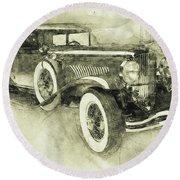 1928 Duesenberg Model J 3 - Automotive Art - Car Posters Round Beach Towel