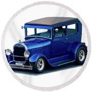1928 Ford Tudor Sedan I Round Beach Towel