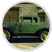 1930 Ford Model A Roadster Round Beach Towel
